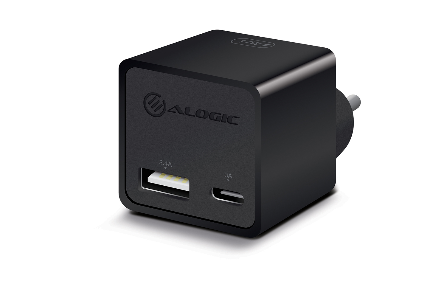 ALOGIC 2 Port USB-C & USB-A Mini Wall Charger – 3A + 2.4A – 17W